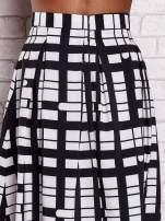 Biało-czarna spódnica maxi w kratę i geometryczne wzory                                                                          zdj.                                                                         5