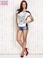 Biało-czarny t-shirt z wilkiem w azteckim stylu                                                                          zdj.                                                                         2