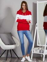 Biało-czerwona modułowa bluza damska z troczkami                                  zdj.                                  4