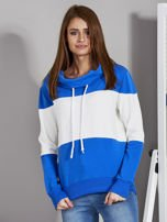 Biało-niebieska modułowa bluza damska z troczkami                                  zdj.                                  1