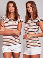 Biało-różowy t-shirt w kolorowe paski                                   zdj.                                  6