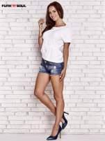 Biały asymetryczny t-shirt z zapięciem na plecach FUNK N SOUL                                  zdj.                                  2