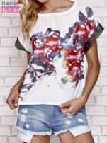 Biały kwiatowy t-shirt ze skórzanymi rękawami                                                                          zdj.                                                                         1