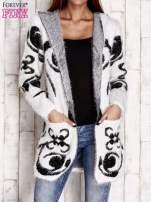 Biały otwarty sweter z kapturem                                  zdj.                                  1