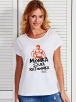 Biały t-shirt damski MONIKA SZUKA RATOWNIKA by Markus P                                  zdj.                                  1