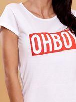 Biały t-shirt damski OH BOY                                  zdj.                                  5