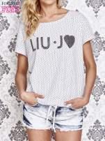 Biały t-shirt w drobne groszki z napisem LIU J❤