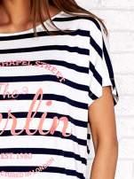 Biały t-shirt w granatowe paski z napisem NORTH CHAPEL STREET                                  zdj.                                  5