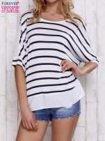 Biały t-shirt w paski z tiulowymi wstawkami                                  zdj.                                  1