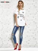 Biały t-shirt w serduszka z napisem THE CUTEST GIRL Funk 'n' Soul                                  zdj.                                  2