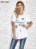 Biały t-shirt w serduszka z napisem THE CUTEST GIRL Funk 'n' Soul                                  zdj.                                  1