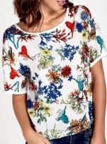 Biały t-shirt we wzór roślinny                                  zdj.                                  5