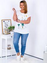 Biały t-shirt z jaskrami PLUS SIZE                                  zdj.                                  4
