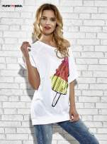 Biały t-shirt z lodowym nadrukiem Funk n Soul                                                                          zdj.                                                                         3