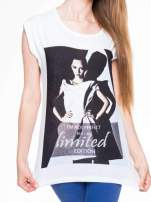 Biały t-shirt z nadrukiem I'M NOT PERFECT BUT I AM LIMITED EDITION                                  zdj.                                  4