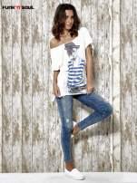 Biały t-shirt z nadrukiem dziewczyny Funk n Soul                                  zdj.                                  2