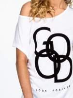 Biały t-shirt z napisem LOOK GOOD FOREVER                                  zdj.                                  5
