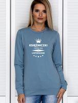 Bluza damska KSIĘŻNICZKI z nadrukiem korony niebieska                                  zdj.                                  1