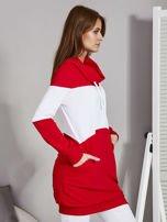 Bluza damska modułowa z luźnym kołnierzem biało-czerwona                                  zdj.                                  5