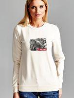 Bluza damska patriotyczna z grafiką I LOVE POLAND ecru                                  zdj.                                  1
