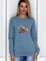 Bluza damska patriotyczna z grafiką I LOVE POLAND niebieska                                  zdj.                                  1