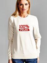 Bluza damska patriotyczna z nadrukiem 100% POLKI ecru                                  zdj.                                  1