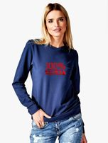 Bluza damska patriotyczna z nadrukiem 100% POLKI granatowa                                  zdj.                                  1