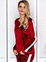 Bluza damska welurowa z jasnymi modułami bordowa                                  zdj.                                  5