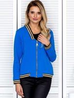 Bluza damska z błyszczącym ściągaczem niebieska                                  zdj.                                  1