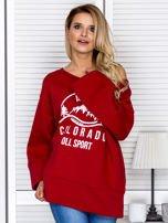 Bluza damska z górskim nadrukiem i szerokimi rękawami bordowa                                  zdj.                                  1