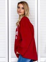 Bluza damska z górskim nadrukiem i szerokimi rękawami bordowa                                  zdj.                                  5