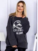 Bluza damska z górskim nadrukiem i szerokimi rękawami ciemnoszara                                  zdj.                                  1