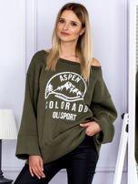 Bluza damska z górskim nadrukiem i szerokimi rękawami khaki                                  zdj.                                  1