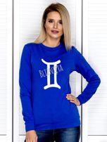 Bluza damska z motywem znaku zodiaku BLIŹNIĘTA kobaltowa                                  zdj.                                  1