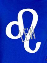 Bluza damska z motywem znaku zodiaku LEW kobaltowa                                  zdj.                                  2