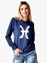 Bluza damska z motywem znaku zodiaku RYBY granatowa                                  zdj.                                  1