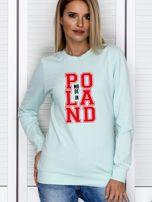 Bluza damska z nadrukiem MADE IN POLAND miętowa                                  zdj.                                  1