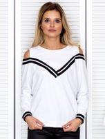 Bluza damska z ściągaczami biała                                  zdj.                                  1