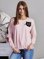 Bluza oversize z cekinowym kotem różowa                                  zdj.                                  1