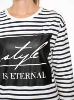 Bluza w ecru-granatowe paski z napisem STYLE IS ETERNAL                                  zdj.                                  6