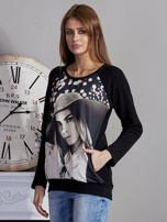Bluza z fotoprintem czarna                                  zdj.                                  3