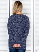 Bluzka damska melanżowa z troczkami na dole granatowa                                  zdj.                                  2