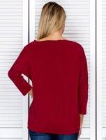 Bluzka damska oversize z kieszenią bordowa                                  zdj.                                  2