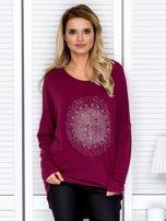 Bluzka damska oversize z kolorowymi dżetami bordowa                                  zdj.                                  1