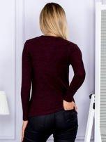 Bluzka damska prążkowana z długim rękawem bordowa                                  zdj.                                  2