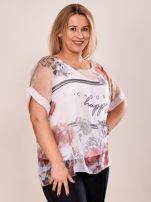 Bluzka koszulowa z napisem CHOOSE HAPPY beżowa PLUS SIZE                                  zdj.                                  5