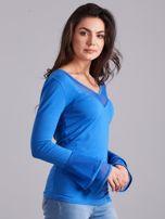 Bluzka z ozdobnymi rękawami niebieska                                  zdj.                                  3