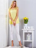 Bluzka żółta z koronkowym dekoltem                                  zdj.                                  4