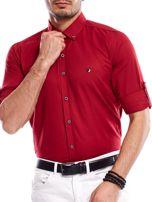 Bordowa koszula męska regular fit z podwijanymi rękawami                                   zdj.                                  8