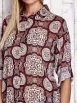 Bordowa koszula w ornamenty kwiatowe                                  zdj.                                  6